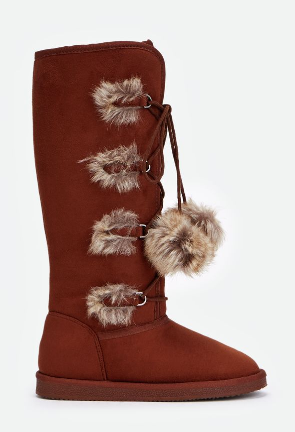 This cozy and cool boot features faux fur accents and a fun, faux fur pom-pom laces- perfect for cold winter days!  ...