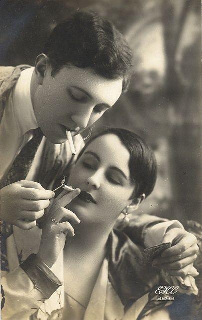 Stylish Vintage Couple 1920s Smoking Black White