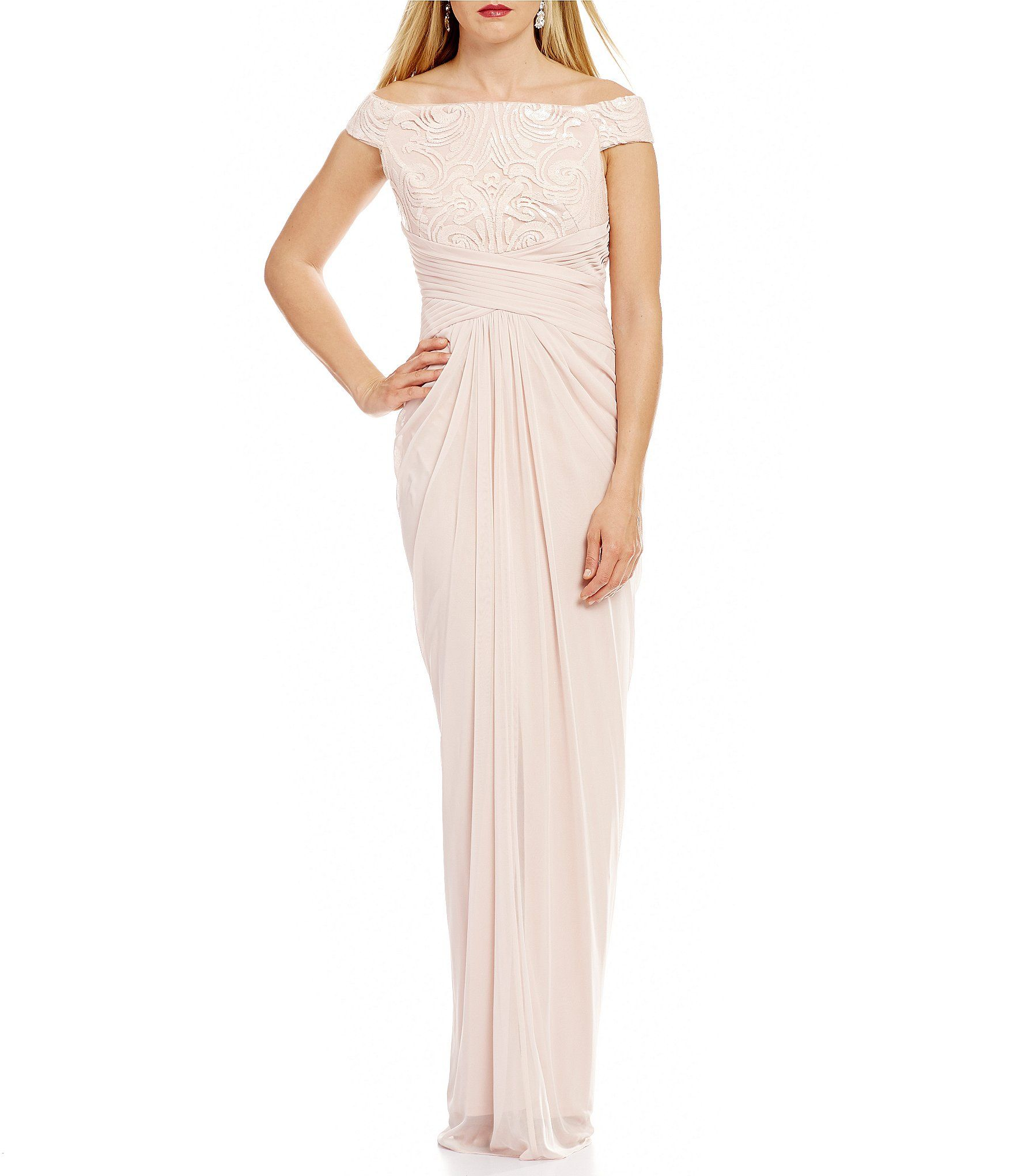 Adrianna Papell Off-The-Shoulder Cap Sleeve Sequin Bodice Draped ...