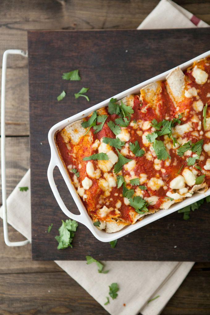 Roasted Corn and Ricotta Enchiladas with Chipotle Tomato Sauce | 16 Favorite Cinco de Mayo Recipes | Cinco de Mayo recipe ideas | recipes for Cinco de Mayo | what to cook on Cinco de Mayo | Cinco de Mayo meal ideas || Glitter, Inc.
