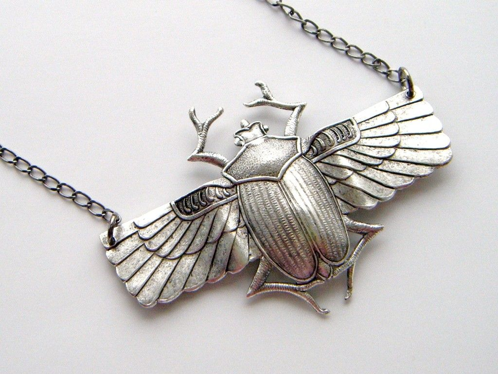Egyptian winged scarab tattoo google search mainly metal silver ox egyptian scarab winged beetle necklace by abneypark aloadofball Choice Image