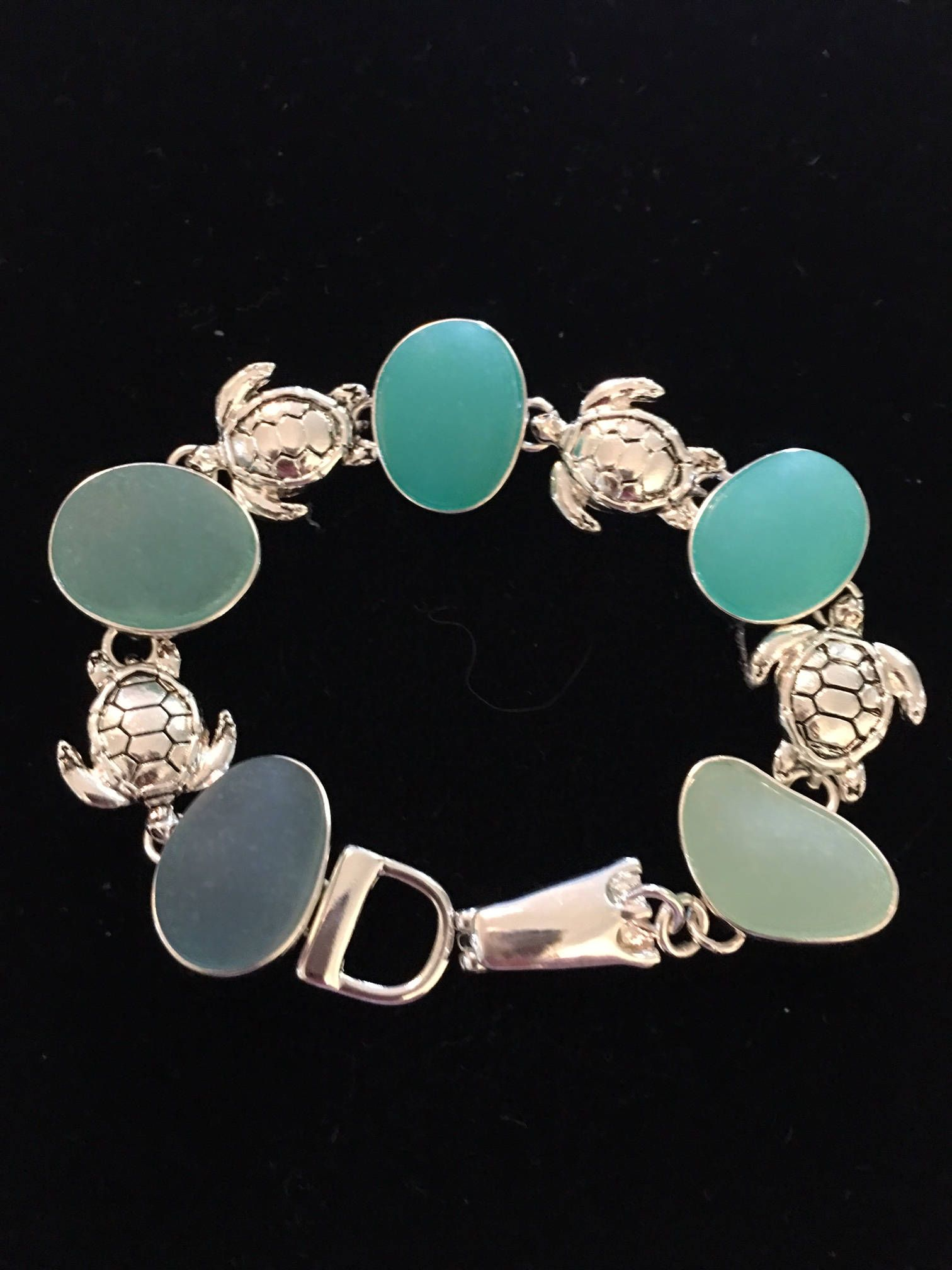 Aqua Sea Gl And Sterling Silver Turtle Bracelet By Venicebytheseajewels On Etsy Jewelry