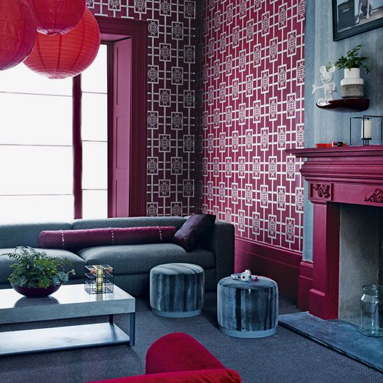 Oriental trend | Plum hues | Eastern pattern | Statement living room | Livingetc