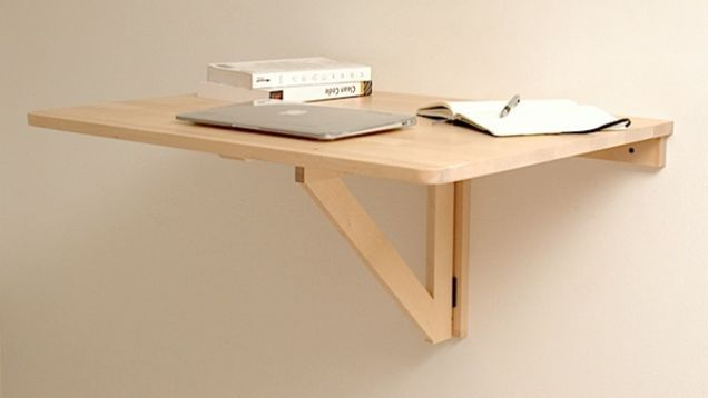 Repurpose A Wall Mounted Folding Table As A Collapsible Standing Desk Diy Standing Desk Wall Mounted Folding Table Fold Down Desk