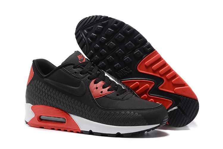 Nike Air Max 90 Embossing Woven Men Black Red