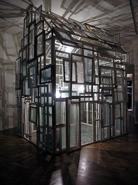 Chiharu Shiota, RAUM / room Haus am Lützowplatz, Berlin, 2005. House of windows, ca. 200 old wooden windows.   https://www.facebook.com/pages/Sculpture/337671456258597