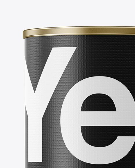 Tin Can With Textured Label Mockup - Front View