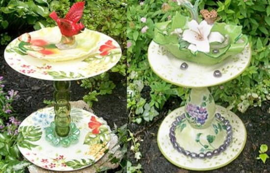shabby-chic-bird-baths | diy garden trinkets | Pinterest ...
