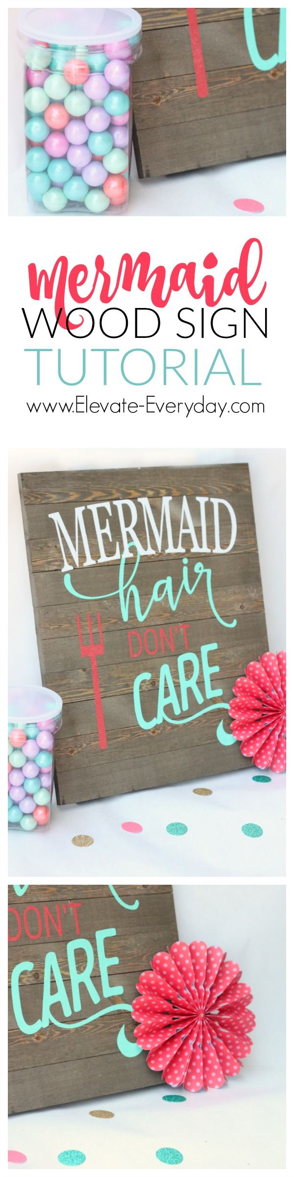 How to make this cute mermaid sign.  Didn't even have to make the palette sign, got it at walmart. #mermaidbathroomdecor