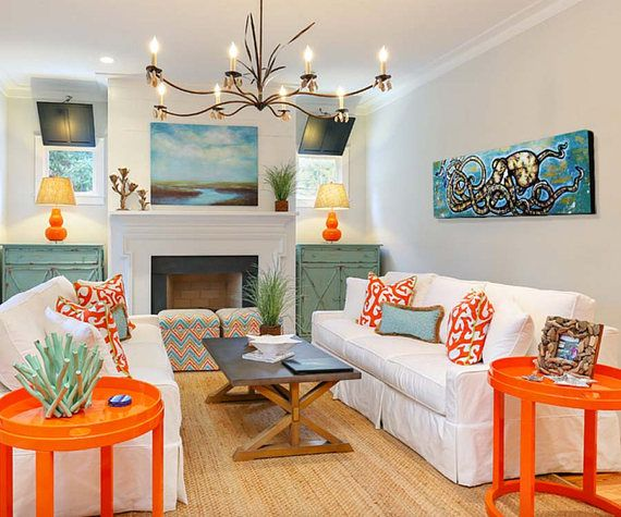 Small Eclectic Living Rooms: Blue Ring Octopus Painting
