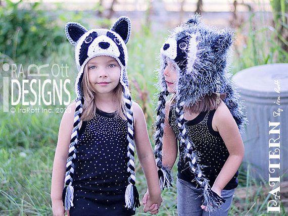 CROCHET PATTERN Rocky and Ricki the Raccoons Crochet Hat Pattern in ...