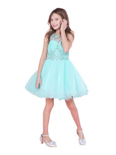 e6330b6e205 Big Girls Aqua (Blue) Bejeweled Top Tulle Wired Trim Junior Bridesmaid Dress  6-18