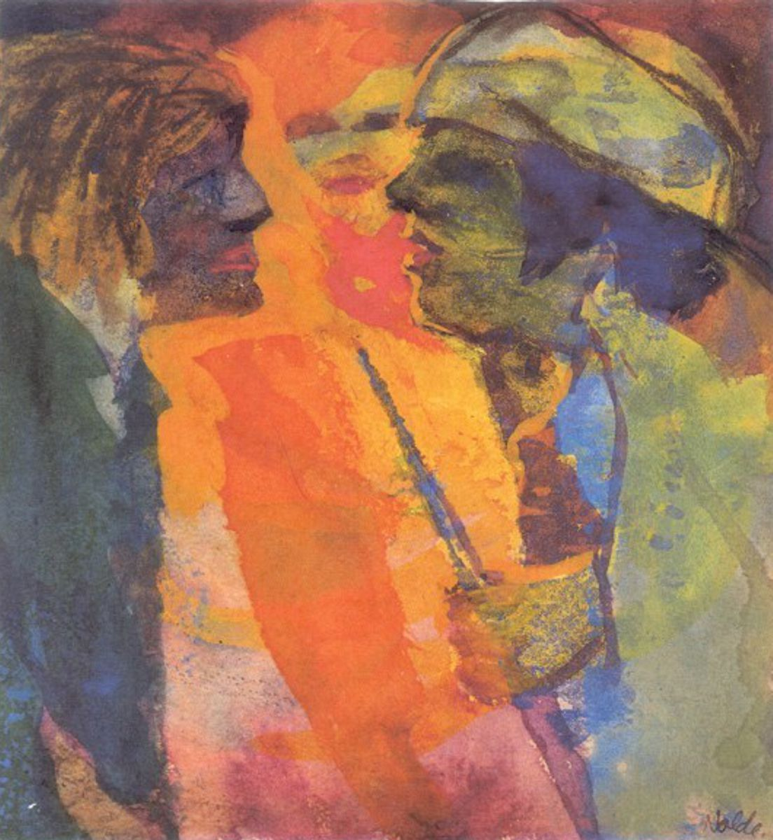 """Emil Nolde, Streitgespräch, 1938/45, Aquarell. The lushly colored paintings reveal the complexity of Nolde's lifeworld. What they all share is the emotional power of color.  Nolde was convinced: """"Colors were a joy to me, and I felt as if they loved my hands."""" His colorful paintings and watercolors testify to his affinity with nature and his search for primal human states"""