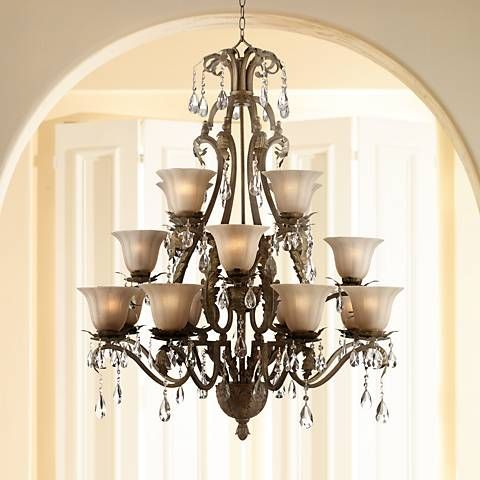 Iron Leaf 39 Wide Roman Bronze And Crystal Chandelier 7g197