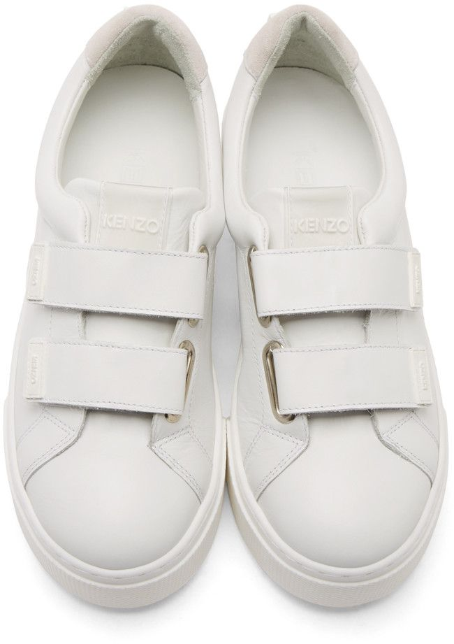 a9778daef424 Kenzo White Leather Velcro Platform Sneakers