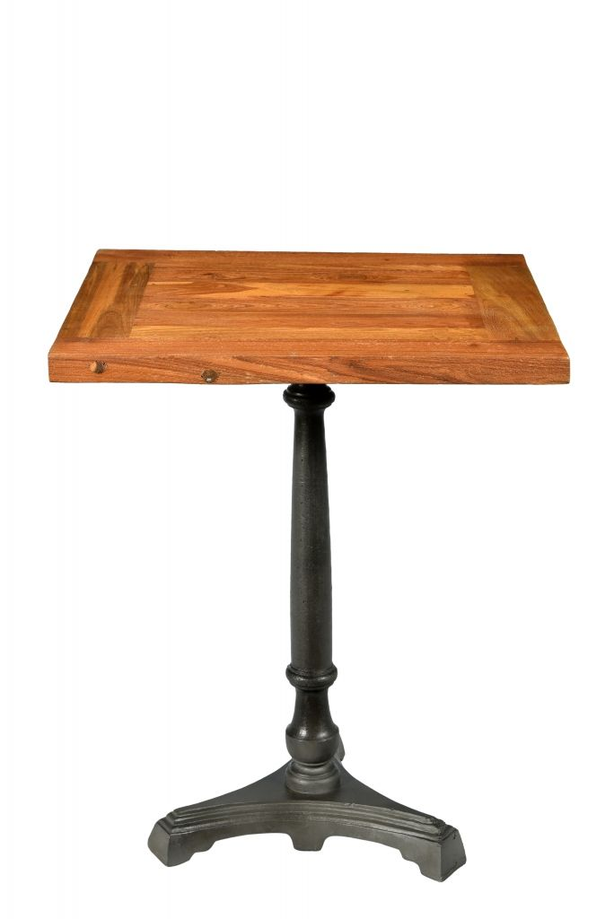 Table De TROQUET Bistro Industrielle Avec Plateau En Bois