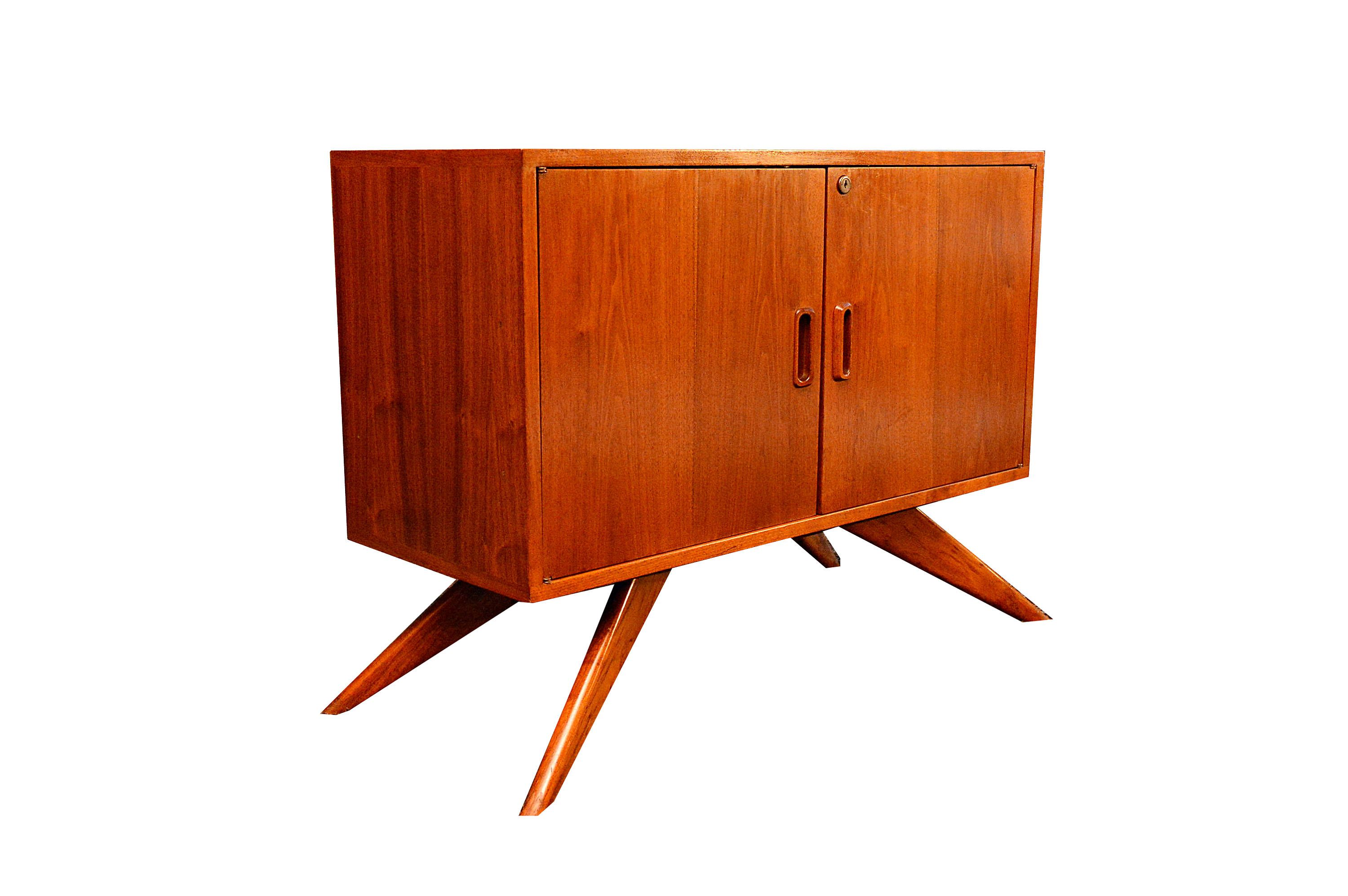 Small Danish Credenza : Small danish walnut credenza or cabinet for sale at stdibs