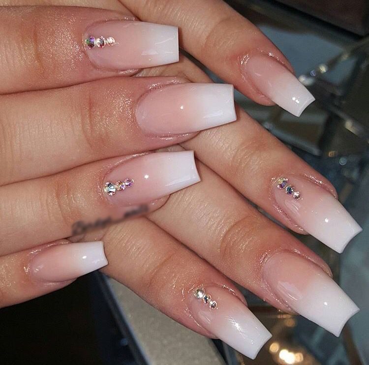 Ombre Nails Almond Ombre Nails In 2020 Nails Design With Rhinestones Ombre Acrylic Nails Rhinestone Nails