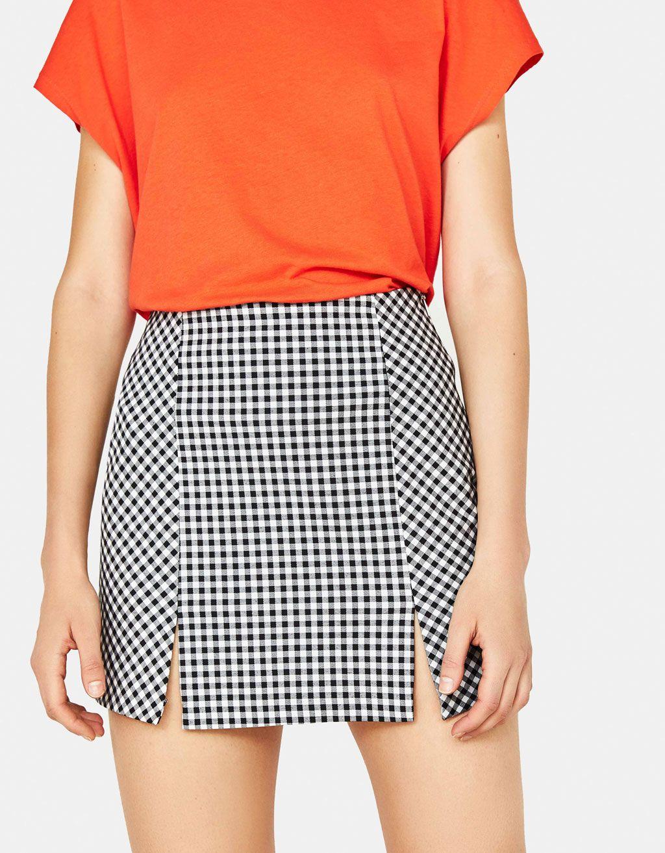 0221b6104 Falda de cuadros con abertura en 2019 | Faldas Mujer | Faldas cortas ...