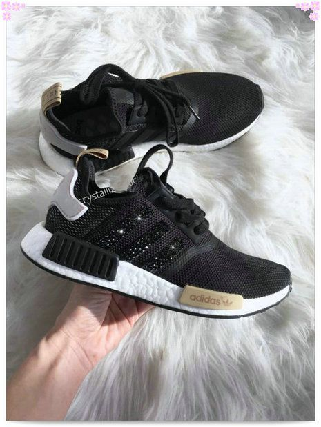 Over 70% Discount Off Authentic Adidas Stripe NMD Sneakers Black Gold White  Adidas Sripes logos SWAROVSKI Crystals Shoes Popular 2017 Fashion 5f7c669dd055