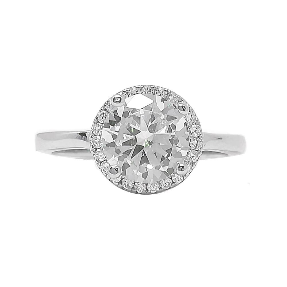 Ασημένιο μονόπετρο δαχτυλίδι απο ασήμι 925°με λευκή κεντρική πέτρα ζιργκόν  Swarovski aba3559e598