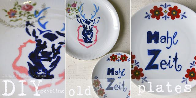 """#DIY tutorial: upcycling old plates  """"Hubertus auf dem Röschenbett"""" Aufgehübschte Flohmarktteller. ♥ #happyweekend"""