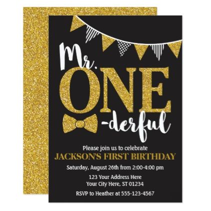 Mr Onederful Birthday Invitation Black And Gold