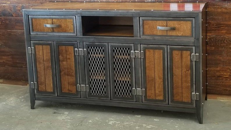 The Burton Industrial Media Console Vintage Industrial Furniture #061
