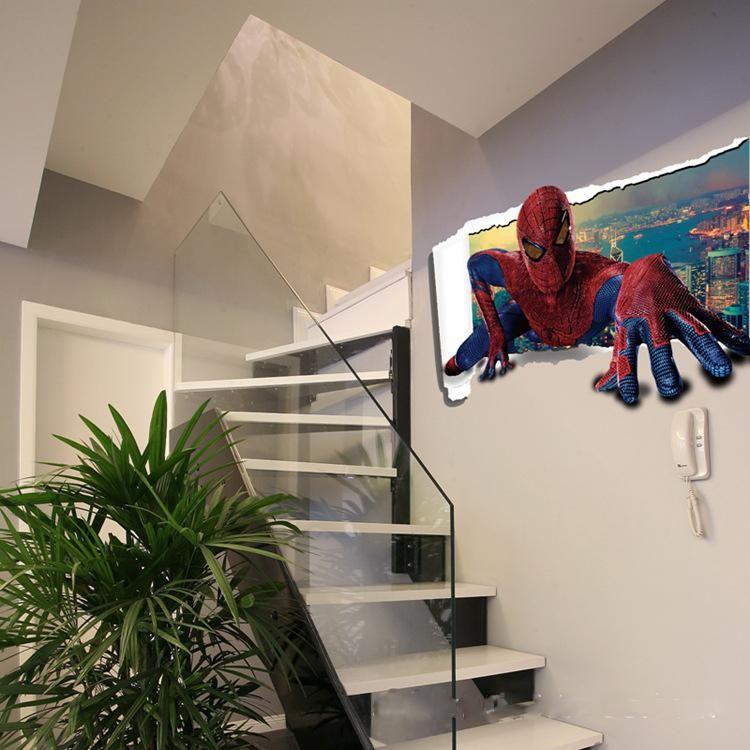 Cartoon Sticker Spiderman 3d Wall Stickers Waterproof Wallpaper Boys