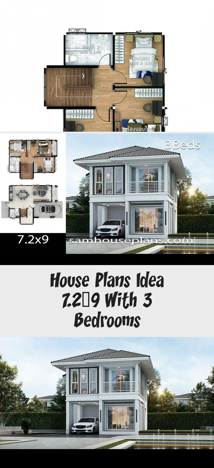 House Plans Idea 7 2x9 With 3 Bedrooms Sam House Plans Modernhouseplansmansions Modernhouseplanscheap Mode In 2020 Pool House Plans House Plans Modern House Plans