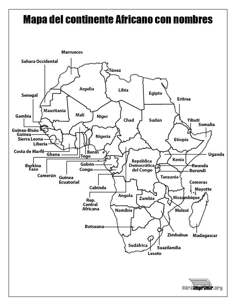 Mapa Africa Para Rellenar.Mapa Del Continente Africano Con Nombres Para Imprimir Continentes Africa Mapa Mapas