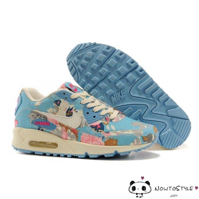 release date: 9bd06 d6042 Air Max 90 Premium Floral Art Camouflage Sky Blue Pink Womens Trainers - Air  Max 90 - Nike Air Max