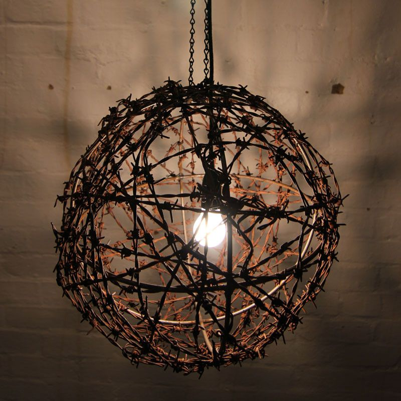 Barbed wire ball light fitting ball lights lights and room ideas barbed wire ball light fitting aloadofball
