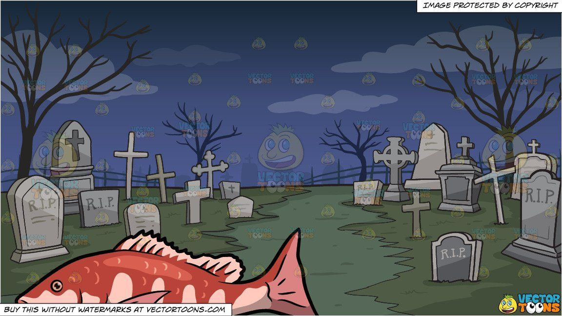 Clipart Cartoon An Open Mouth Red Snapper Fish And A Graveyard