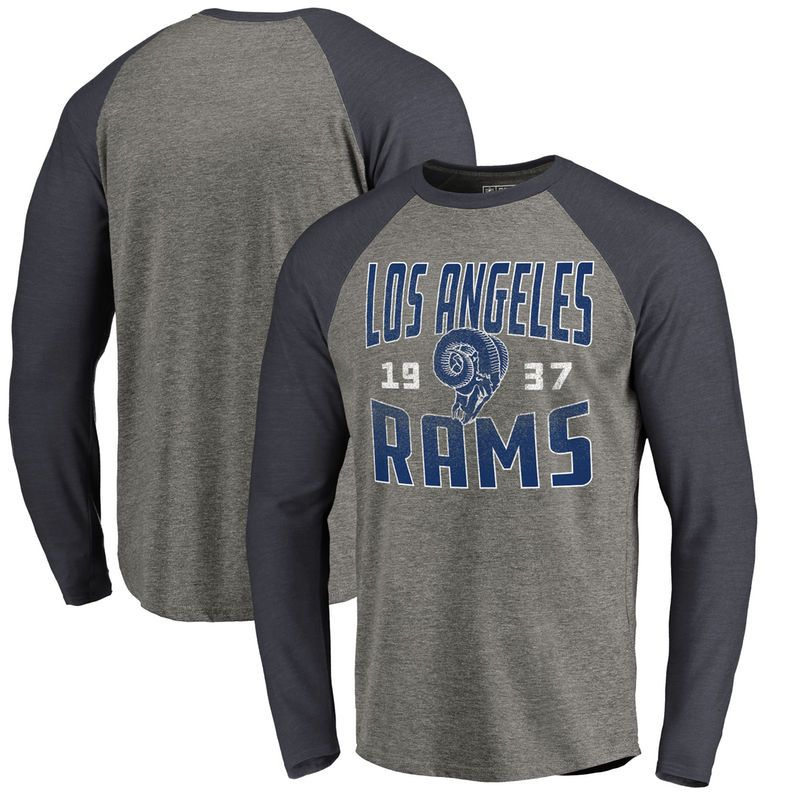 1a2e0cd4b Los Angeles Rams NFL Pro Line by Fanatics Branded Timeless Collection  Antique Stack Big   Tall Long Sleeve Raglan T-Shirt - Ash