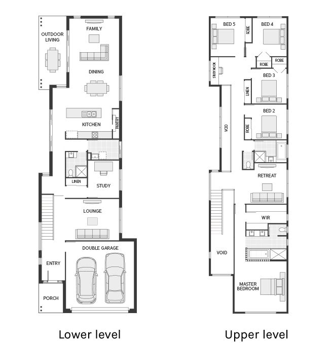 Floor Plan Friday Narrow but large 2 storey home is part of Narrow house plans, Narrow house designs, Narrow lot house plans, Duplex floor plans, Split level house plans, Floor plans - Hi there! Today on Floor Plan Friday I have this narrow but large 2 storey home with 5 bedrooms, plus a study and 3 living spaces