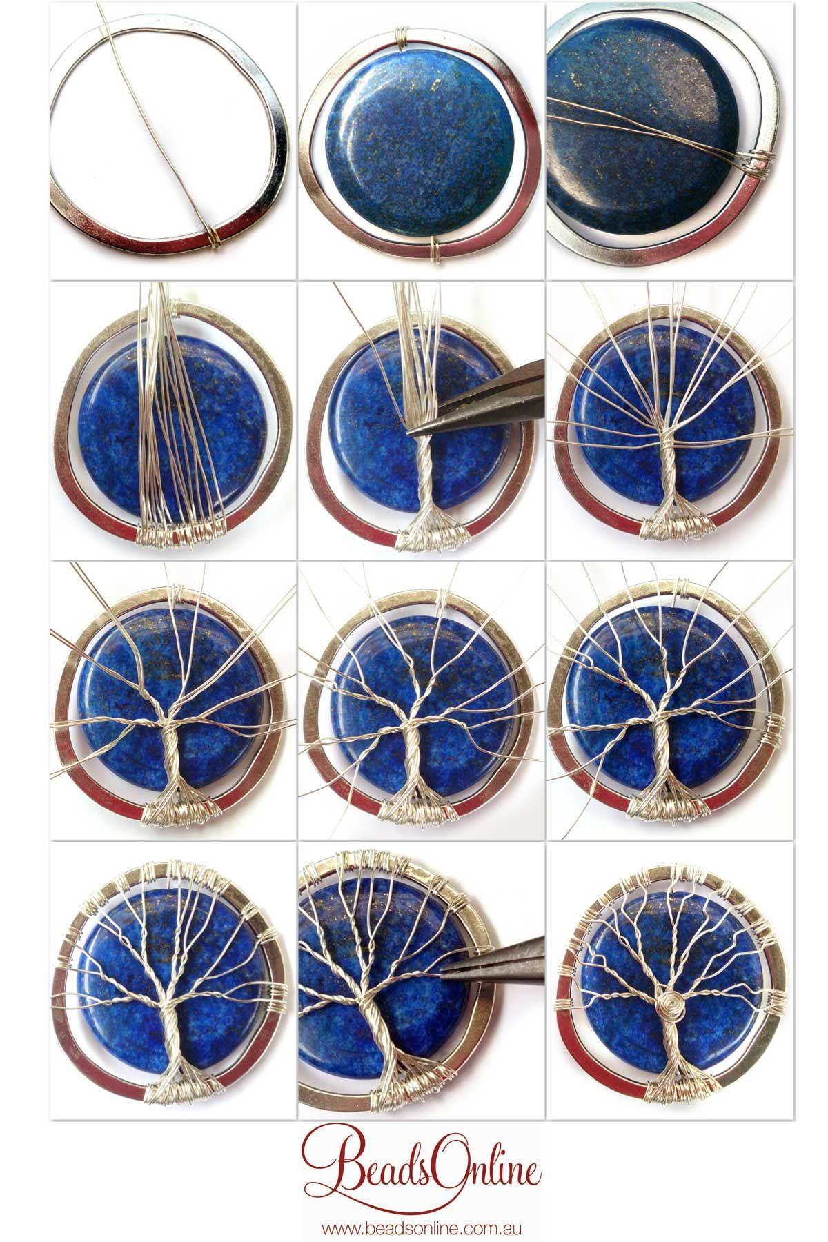 Lapis lazuli tree of life diy wire wrapoed stone pendant for How to make rock jewelry