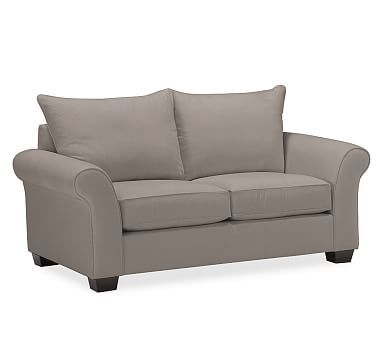 "PB Comfort Roll Arm Upholstered Loveseat 67"", Knife Edge Polyester Wrapped Cushions, Twill Metal Gray"