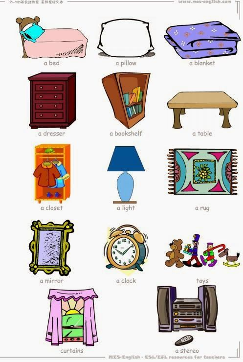 Inglese 14 bedroom objects flashcard for my school pinterest english vocabulary learn for Living room in french language