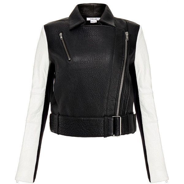 Helmut Lang Black and White Monochrome Leather Biker Jacket (2.245 BRL) ❤ liked on Polyvore featuring outerwear, jackets, black, asymmetrical leather jacket, belted leather jacket, cropped jacket, biker jacket and motorcycle jacket