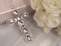 Shimmering silver cross with clear crystals