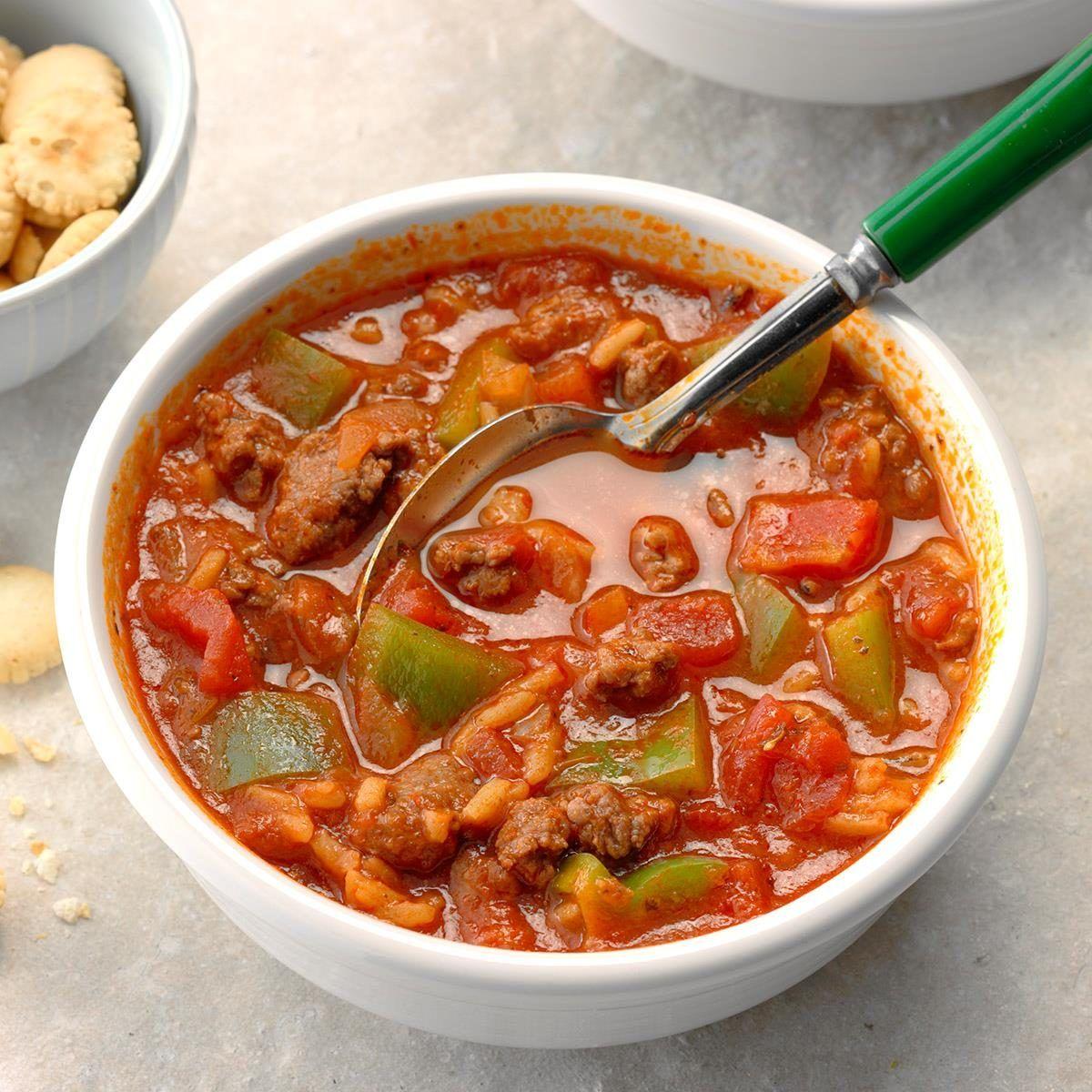 Contest Winning Stuffed Pepper Soup Recipe In 2020 Stuffed Pepper Soup Stuffed Peppers Soup Recipes