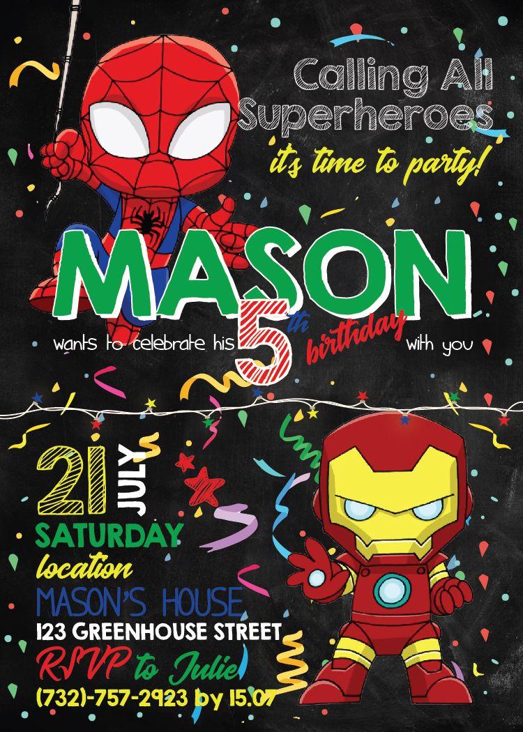 spiderman birthday invitation birthday invitation printable