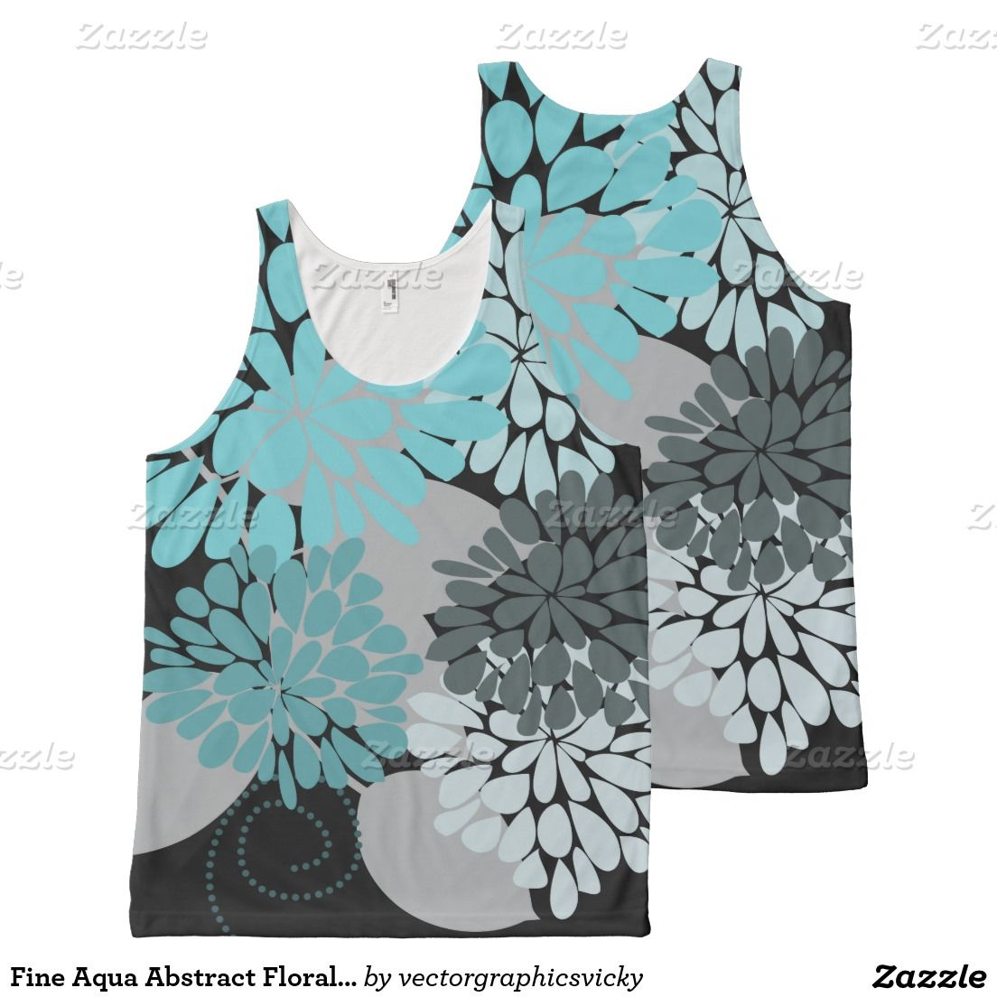 d31322db5c Fine Aqua Abstract Floral Vector Pattern All-Over Print Tank Top ...