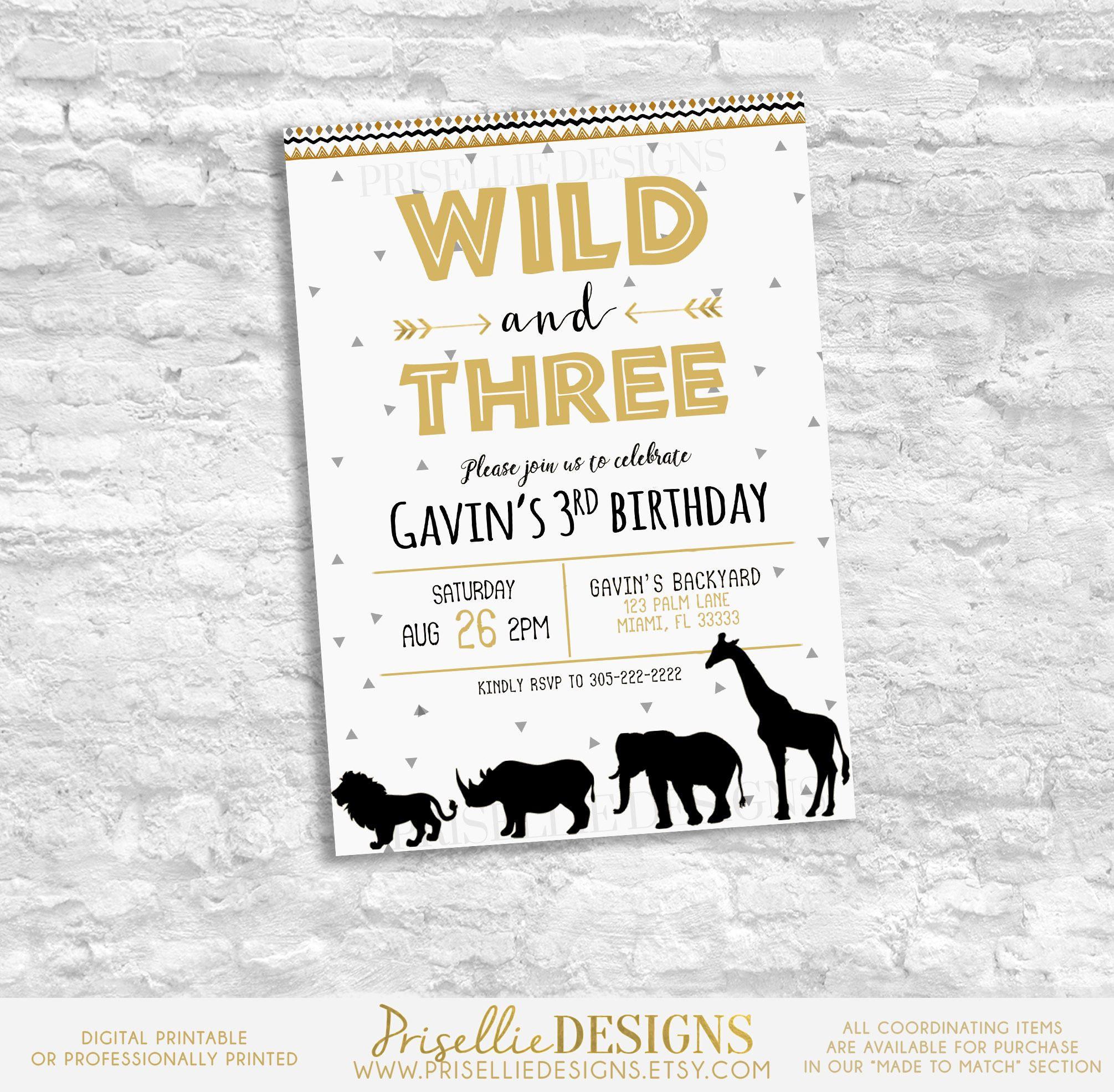 Wild Three Birthday Invitation, Wild Three Boy Boho Safari Birthday ...