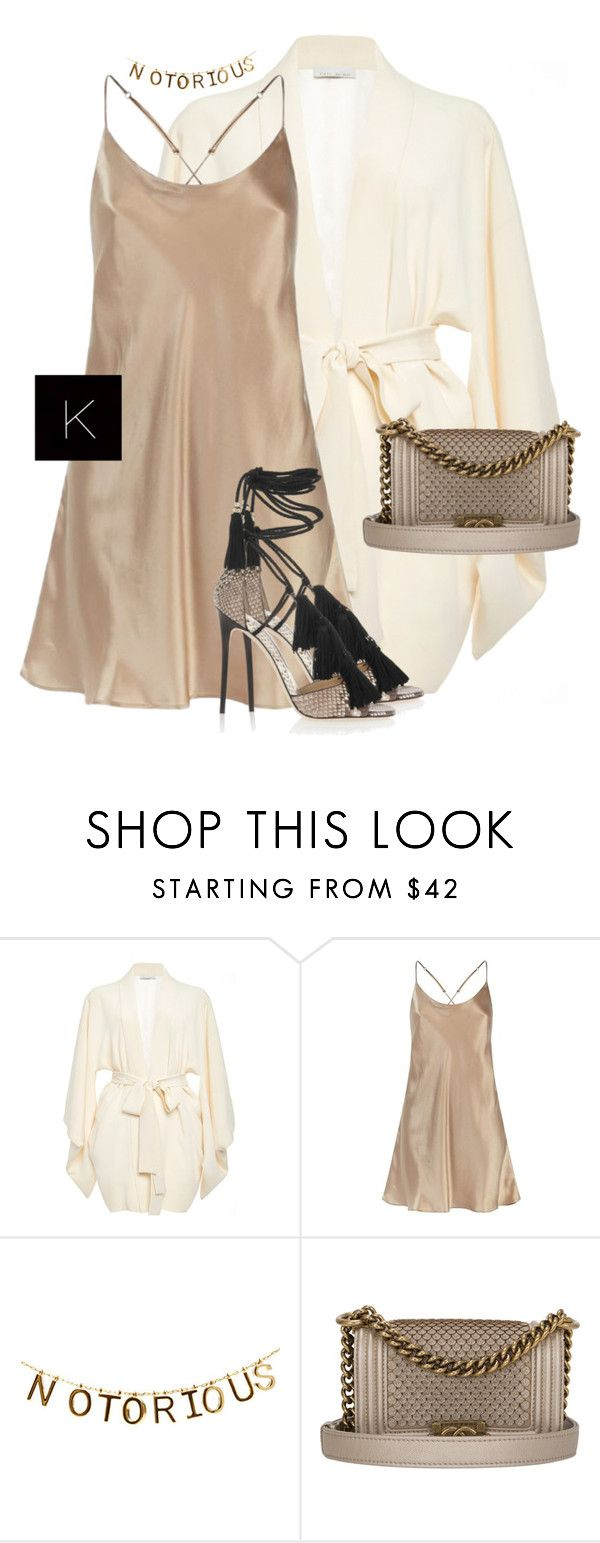 """Untitled #3521"" by kimberlythestylist ❤ liked on Polyvore featuring Fleur du Mal, Harrods, Chanel and Jimmy Choo"