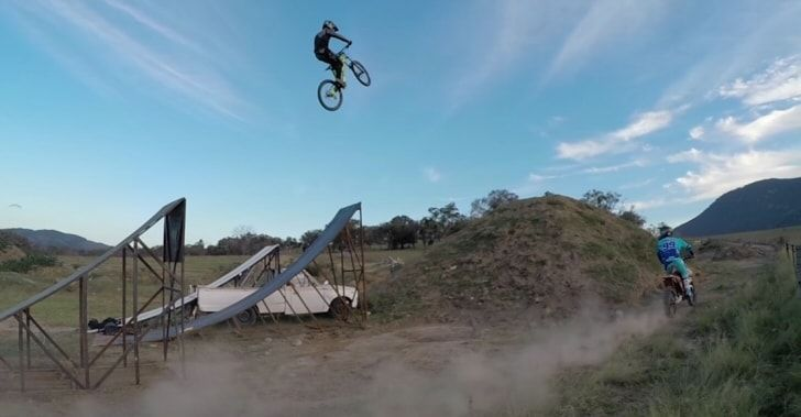 Video Gopro Mx Rider Launches Mtb Over 50ft Jump Downhill