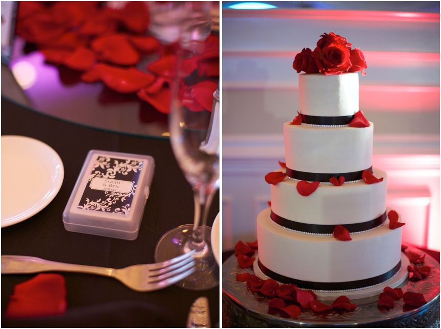 Wedding Favors At High Grove Reception Elegant White Cake With Black Ribbon Accents And Red Rose Petals Southern