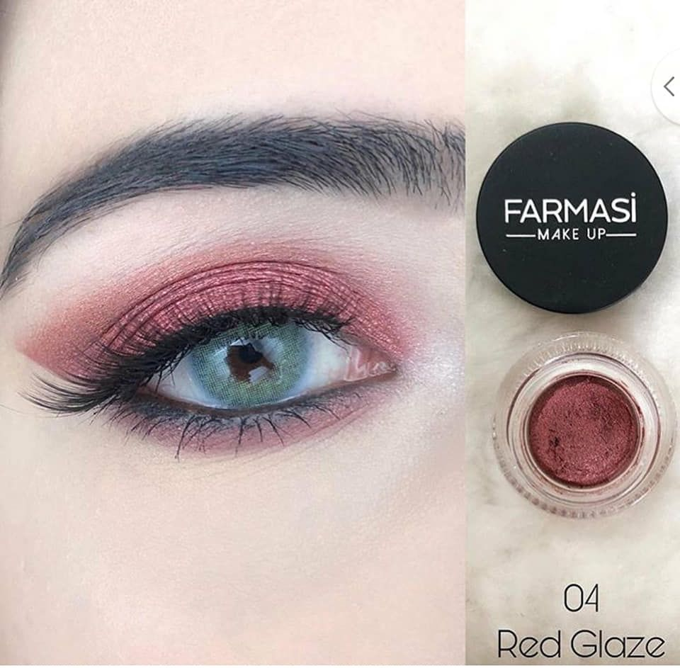Farmasi make up long last creamy eyeshadow 04 red glaze