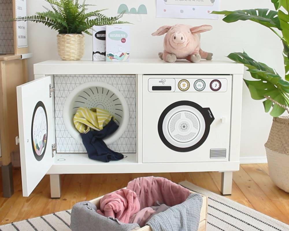 Waschmaschine mit Waschtrommel für Kinder basteln #diykinderzimmer